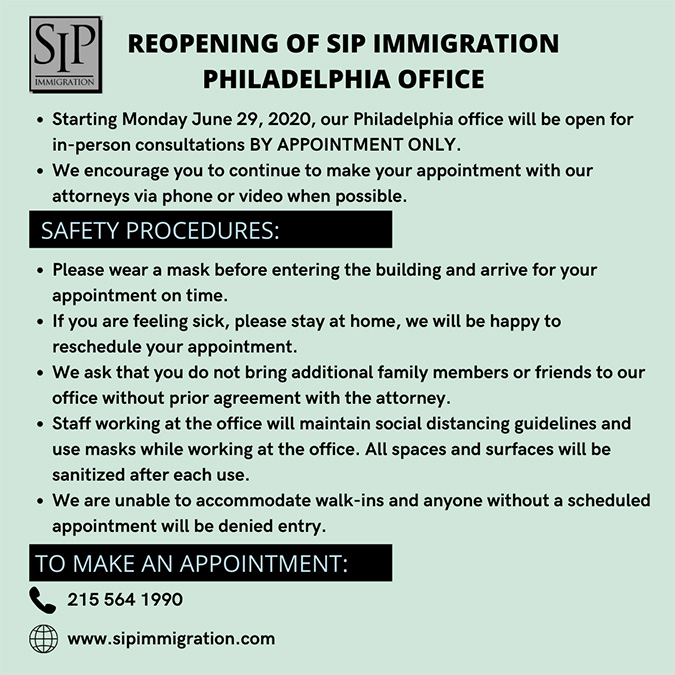 reopening immigration law office in Philadelphia